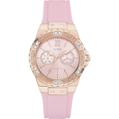 Guess Women's Rose Gold Tone Pink Multifunction Watch 38.5mm U1053L3