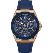 Guess Men's Blue And Gold Tone Watch 45mm U1049G2