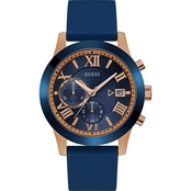 Guess Men's Blue And Rose Goldtone Multifunction Dual Chronograph 44.5mm U1055G2