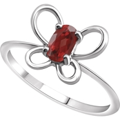 Karat Kids 14K Gold Oval Imitation Garnet January Butterfly Youth Ring, Size 3