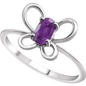 Karat Kids 14K Gold Oval Imitation Amethyst February Butterfly Youth Ring, Size 3