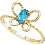 Karat Kids 14K Gold Oval Imitation Aquamarine March Butterfly Youth Ring, Size 3