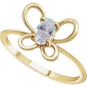 Karat Kids 14K Gold Imitation Cubic Zirconia April Butterfly Youth Ring, Size 3