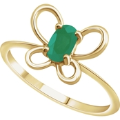 Karat Kids 14K Gold Oval Imitation Emerald May Butterfly Youth Ring, Size 3