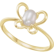 Karat Kids 14K Gold Oval Freshwater Pearl June Butterfly Youth Ring, Size 3