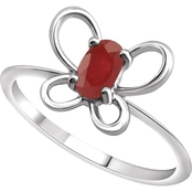 Karat Kids 14K Gold Oval Imitation Ruby July Butterfly Youth Ring, Size 3
