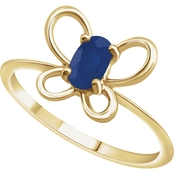 Karat Kids 14K Gold Oval Imitation Sapphire September Butterfly Youth Ring, Size 3