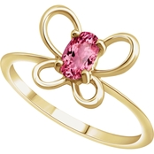 Karat Kids 14K Gold Imitation Pink Tourmaline October Butterfly Youth Ring, Size 3