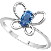 Karat Kids 14K Gold Oval Imitation Blue Zircon December Butterfly Youth Ring