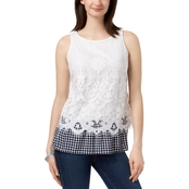 Charter Club Petite Gingham Hem Lace Top