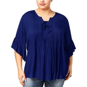 Style & Co. Plus Size Pintucked Ruffled Peasant Top
