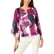 Alfani Petite Printed Angel Sleeve Bubble Top