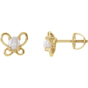 Karat Kids 14K Gold Oval Freshwater Pearl June Butterfly Youth Earrings