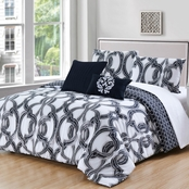 Pacific Coast Textiles Seville 300 Thread Count 5 Pc. Reversible Comforter Set