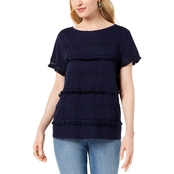 Style & Co. Petite Embellished Fringe Trim T Shirt
