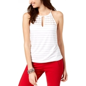 INC International Concepts Petite Illusion Striped Keyhole Top