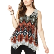 INC International Concepts Petite Printed Handkerchief Hem Top