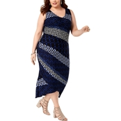 I.N.C. International Concepts Plus Size Printed Mixed Print Ruched Dress