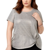 I.N.C. International Concepts Plus Size Metallic Twist Hem Tee