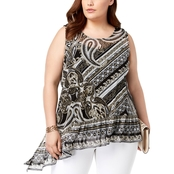 I.N.C. International Concepts Plus Size Printed Asymmetrical Ruffle Hem Top