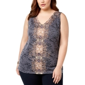 I.N.C. International Concepts Plus Size Embellished Printed Tank Top