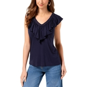 Style & Co. Petite V Neck Ruffled Top