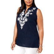 Charter Club Plus Size Linen Embroidered Tunic