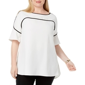 Alfani Plus Size Piped Flutter Sleeve Top