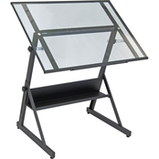 Studio Designs Solano Height Adjustable Drawing Table with Glass Top