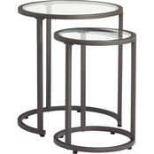 Studio Designs Home Camber Modern Glass Round Nesting Tables
