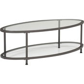 Studio Designs Home Camber 48 In. Oval Coffee Table in Pewter and Clear Glass
