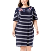 Karen Scott Plus Size Embroidery Tee Dress