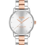 COACH Women's Grand Two Tone Bracelet Watch with Crystal Markers