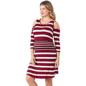 Planet Motherhood Maternity Cold Shoulder Striped Dress