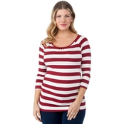 Planet Motherhood Maternity Lace Back Striped Top