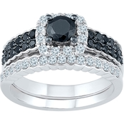 10K White Gold 1 CTW White and Black Diamond Bridal Set