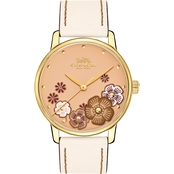 COACH Women's Grand Tea Rose Leather Strap Watch 36mm 1450300