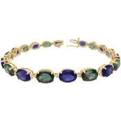 10K Yellow Gold Amethyst and Mystic Topaz Bracelet