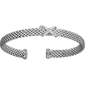 Phillip Gavriel Sterling Silver Diamond Accent Textured Cuff Bangle Bracelet