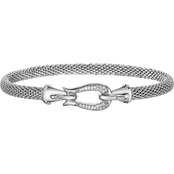 Phillip Gavriel Sterling Silver 1/8 CTW Diamond Hook Clasp Popcorn Bangle Bracelet