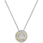 Phillip Gavriel 18K Gold and Sterling Silver Diamond Accent Round Pendant