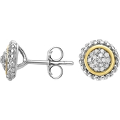 Phillip Gavriel 18K Gold and Sterling Silver Diamond Accent Round Post Earrings