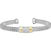 Phillip Gavriel 18K Gold and Sterling Silver 1/10 CTW Diamond Cuff Bangle Bracelet
