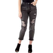 Kensie Jeans Heavy Destructed Hi Rise Crop Jeans