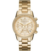 Michael Kors Women's Ritz Goldtone Chronograph Watch MK6356