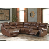 Billwedge Leather 6 pc. Sectional LAF Chaise/2 Recliners/Console