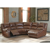 Ashley Billwedge Leather 5 pc. Sectional RAF Chaise/2 Recliners/Wedge