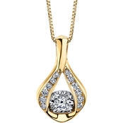 10K Two Tone Gold 1/8 CTW Sirena Diamond Teardrop Pendant