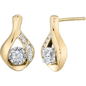 10K Two Tone Gold 1/5 CTW Sirena Diamond Teardrop Earrings