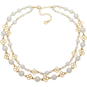 Anne Klein 16 in. Two Rows Pearl Collar Necklace